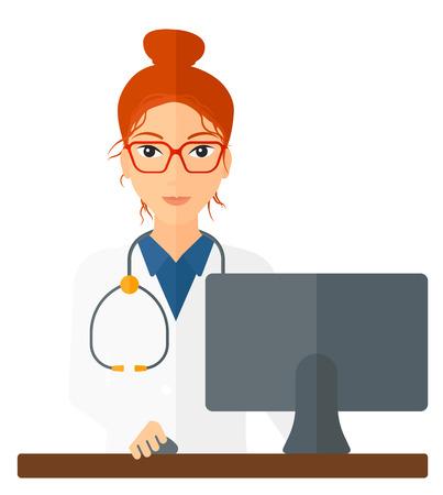 Een apotheker die zich bij de balie in de voorkant van de computer monitor vector platte ontwerp illustratie op een witte achtergrond. Vierkante lay-out.