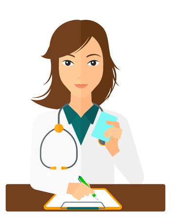 A pharmacist taking notes and holding a prescription in a hand vector flat design illustration isolated on white background. Vertical layout.