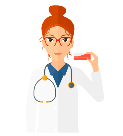 dispensary: A pharmacist showing some medicine vector flat design illustration isolated on white background. Square layout.