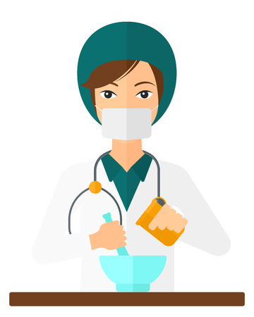 A pharmacist preparing medicine vector flat design illustration isolated on white background. Vertical layout.