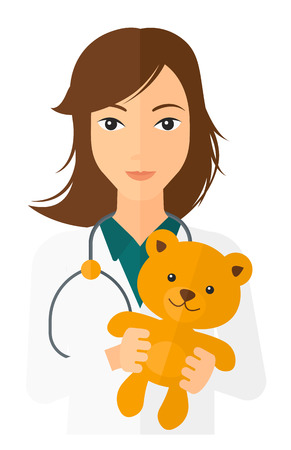 A pediatrician with a stethoscope holding a teddy bear vector flat design illustration isolated on white background. Vertical layout.