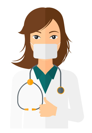 nurse uniform: A doctor in mask with stethoscope showing thumb up vector flat design illustration isolated on white background. Vertical layout.