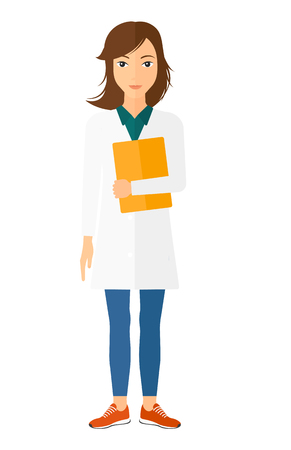 medico: A happy doctor holding a file vector flat design illustration isolated on white background. Vertical layout. Illustration
