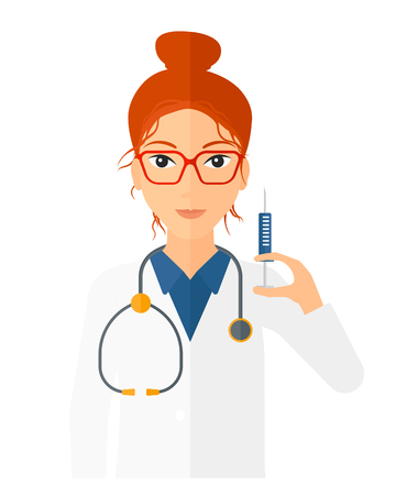 a lady doctor: A doctor holding the syringe with medication vector flat design illustration isolated on white background. Vertical layout.