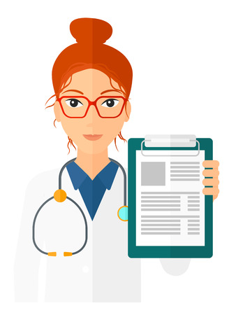 A doctor holding medical notepad vector flat design illustration isolated on white background. Vertical layout.