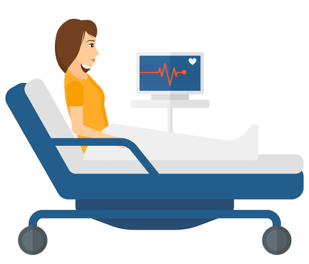 woman lying in bed: A patient lying in bed with a monitor showing her heartbeat vector flat design illustration isolated on white background. Horizontal layout.