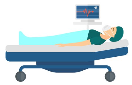 A patient in mask lying in bed with a monitor showing her heartbeat vector flat design illustration isolated on white background. Horizontal layout. Illustration