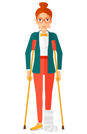 An injured woman with broken leg standing with crutches vector flat design illustration isolated on white background. Vertical layout.
