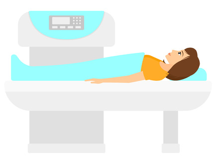 A woman undergoes an open magnetic resonance imaging scan procedure vector flat design illustration isolated on white background. Horizontal layout.