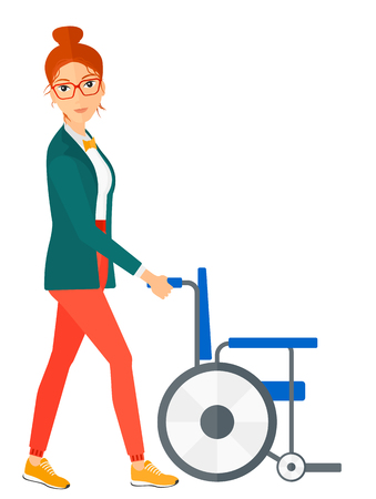 A woman pushing empty wheelchair vector flat design illustration isolated on white background. Vertical layout.