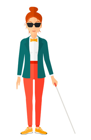 A blind woman in dark glasses standing with walking stick vector flat design illustration isolated on white background. Vertical layout.