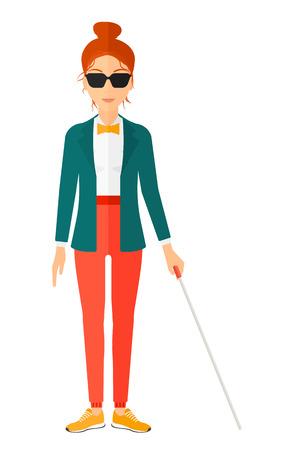 Eine blinde Frau in den dunklen Gläsern stehend mit Stock Vektor flache Design, Illustration zu Fuß auf weißem Hintergrund. Vertikal-Layout. Vektorgrafik