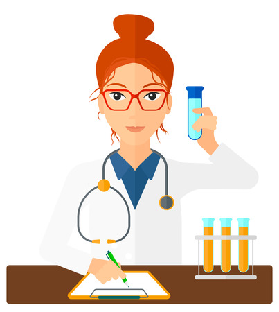 medicine and science: A laboratory assistant taking some notes and holding a test tube vector flat design illustration isolated on white background. Square layout. Illustration