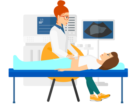 medical examination: A patient laying in bed with ultrasonic equipment during ultrasound medical examination vector flat design illustration isolated on white background. Horizontal layout.