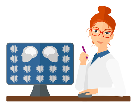 A doctor looking at results of MRI scan on a computer screen vector flat design illustration isolated on white background. Horizontal layout.