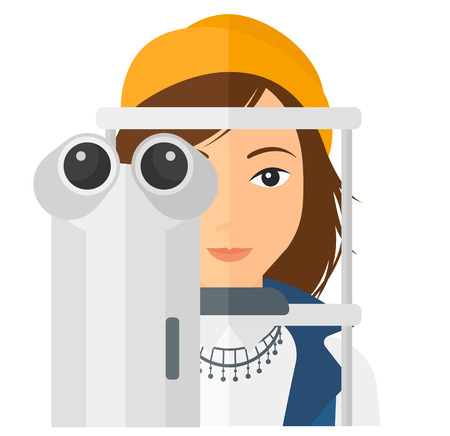 A female patient during eye exam vector flat design illustration isolated on white background. Square layout. Illustration