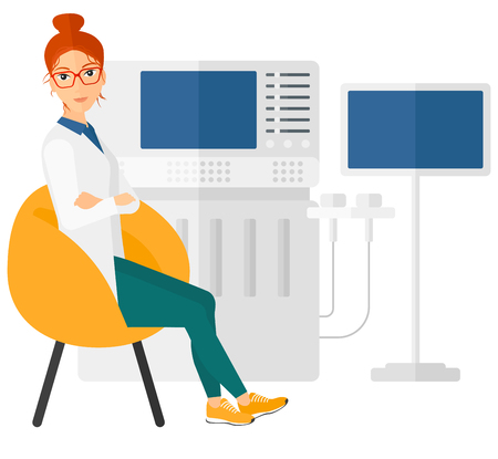 ultrasonic: Female ultrasound specialist with ultrasonic equipment vector flat design illustration isolated on white background.