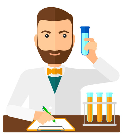 A laboratory assistant taking some notes and holding a test tube vector flat design illustration isolated on white background. Square layout. Иллюстрация