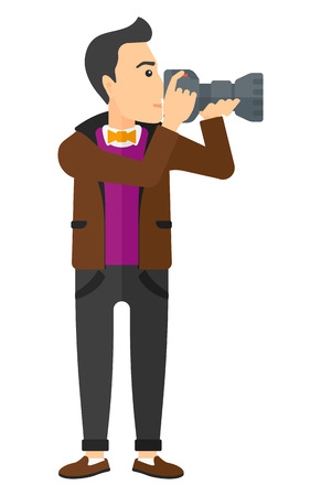 A photographer holding a camera vector flat design illustration isolated on white background.