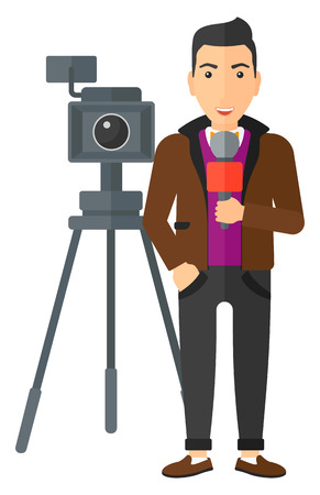 filming: A camera filming and a reporter standing with a microphone vector flat design illustration isolated on white background.