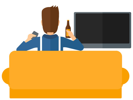 lcd tv: A man sitting on the couch and watching tv with remote controller and a bottle in hands vector flat design illustration isolated on white background. Illustration