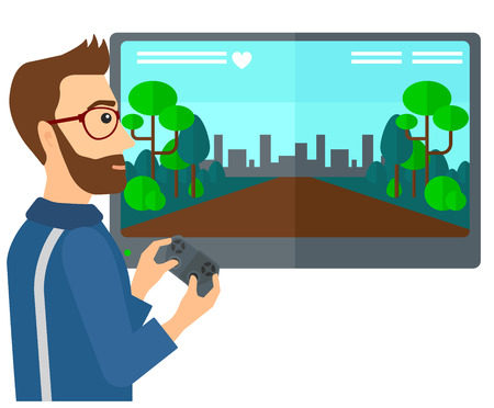 playing video game: A man playing video game with gamepad in hands vector flat design illustration isolated on white background. Illustration