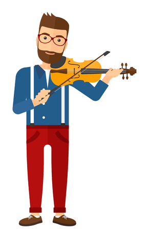 cellist: A man playing violin vector flat design illustration isolated on white background.