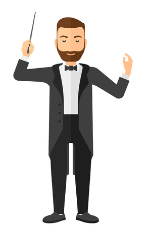 An orchestra conductor directing with his baton vector flat design illustration isolated on white background.