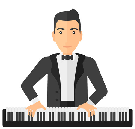 pianoforte: A musician playing piano vector flat design illustration isolated on white background. Illustration