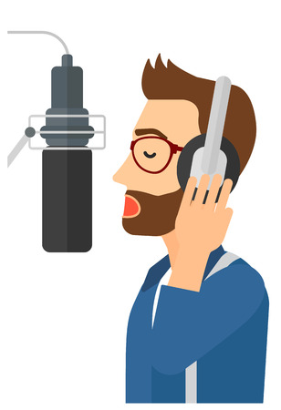 singer microphone: A hipster singer with the bread in headphones in studio making a record of his voice in microphone vector flat design illustration isolated on white background. Illustration