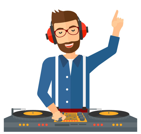 mixing console: A hipster DJ with the beard in eadphones and glasses with hand up playing music on turntable vector flat design illustration isolated on white background. Illustration