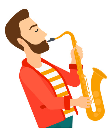 A musician playing saxophone vector flat design illustration isolated on white background. Иллюстрация
