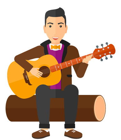 A happy man sitting on a log and playing a guitar vector flat design illustration isolated on white background.