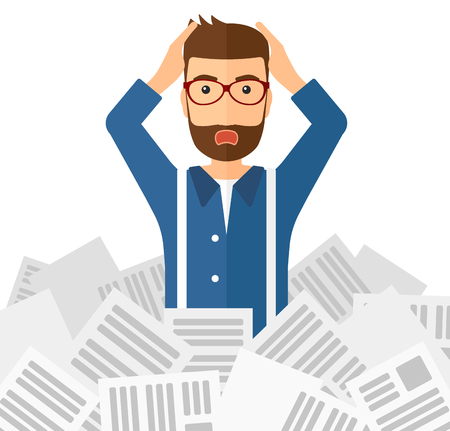 A stressed man clutching his head because of having a lot of work to do with a heap of newspapers in front of him vector flat design illustration isolated on white background.