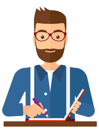 Een verslaggever schrijven van een artikel in zijn schriftelijk-pad vector plat ontwerp illustratie op een witte achtergrond. Vector Illustratie