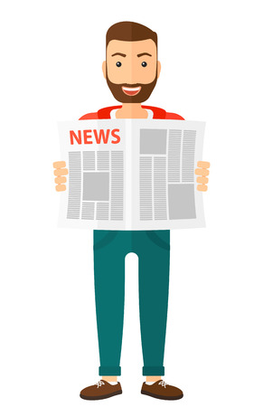 article: A happy reporter reading the newspaper with his article vector flat design illustration isolated on white background.