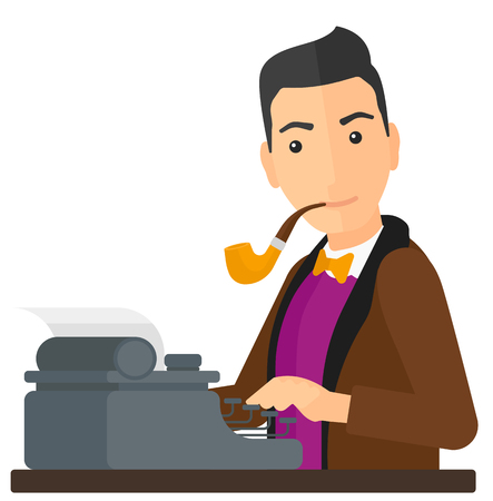 A reporter writing an article on his typewriter vector flat design illustration isolated on white background.