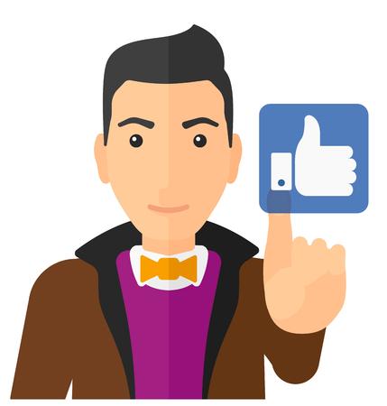 A man pressing like button vector flat design illustration isolated on white background. Ilustração