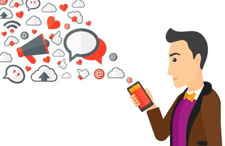 using smartphone: A man using smartphone with lots of social media application icons flying out vector flat design illustration isolated on white background.