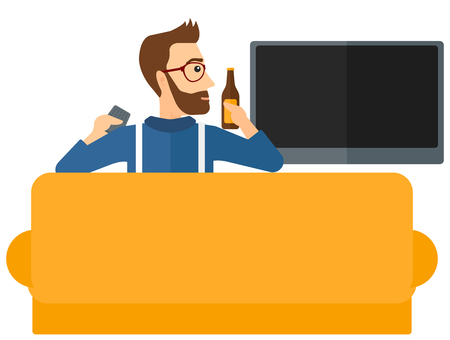 A man sitting on the couch and watching tv with remote controller and a bottle in hands vector flat design illustration isolated on white background. Illustration