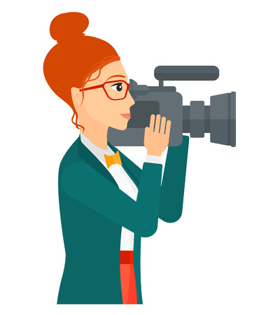 cinematograph: A cameraman with video camera taking a video vector flat design illustration isolated on white background.