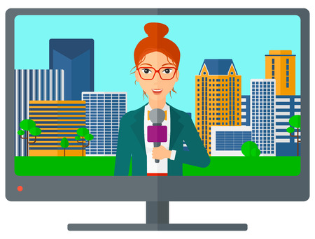 television set: Television set broadcasting the news with a reporter vector flat design illustration isolated on white background.