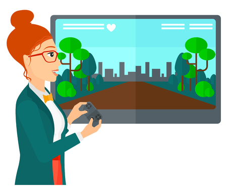 users video: A woman playing video game with gamepad in hands vector flat design illustration isolated on white background.