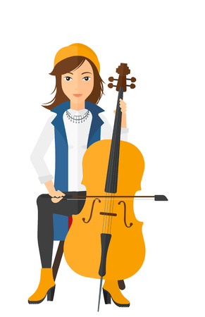 soloist: A woman playing cello vector flat design illustration isolated on white background.