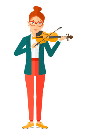 fiddles: A woman  playing violin vector flat design illustration isolated on white background.