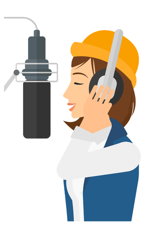 A singer in headphones in studio making a record of her voice in microphone vector flat design illustration isolated on white background.