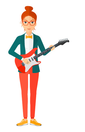 A smiling musician playing electric guitar vector flat design illustration isolated on white background. Illustration