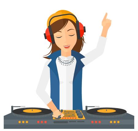 Een DJ in eadphones met hand omhoog het afspelen van muziek op de draaitafel vector platte ontwerp illustratie op een witte achtergrond.