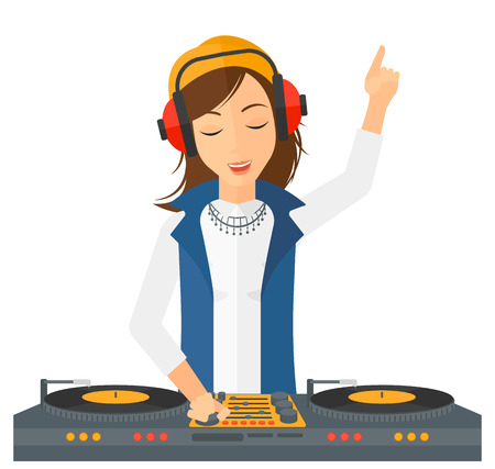 A DJ in eadphones with hand up playing music on turntable vector flat design illustration isolated on white background. Vectores