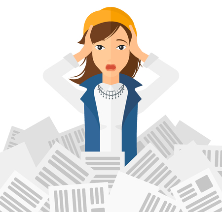 tired: A stressed woman clutching her head because of having a lot of work to do with a heap of newspapers in front of her vector flat design illustration isolated on white background.